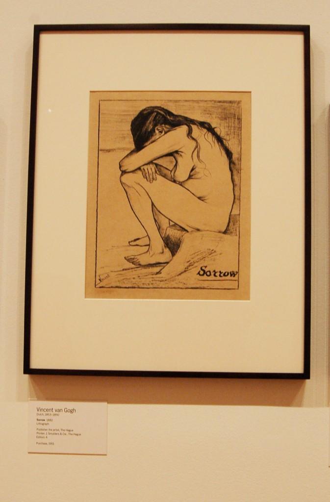 ভিনসেন্টের আঁকা রেখা চিত্র, 'দু:খ' সিন হুরনিককে (১৮৫০-১৯০৪)তিনি মডেল হিসেবে ব্যাবহার করেছেন, মিউজিয়াম অব মর্ডান আর্ট, নিউ ইয়র্ক, আলোকচিত্র : আসমা সুলতানা