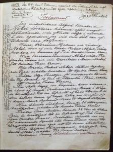 আলফ্রেড নোবেলের উইলের প্রথম পৃষ্ঠা